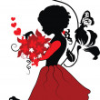 Stock Vector: Silhouette little girl with lovely bouquet
