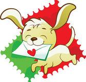 милый щенок приносит любовное письмо — Cтоковый вектор