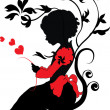 Stock Vector: Silhouette little girl with love letter