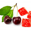 Stock Photo: Jelly red with cherry
