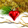 Christmas heart with pine branch - Stock Photo