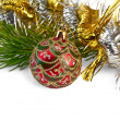 Christmas red ball with pine branch — Stock fotografie