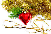 Christmas heart with pine branch — Stock Photo