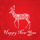 Snowflake deer Christmas card — Stock Vector