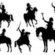 Silhouettes of American Indians on horseback — Imagen vectorial