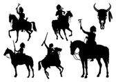 Silhouettes of American Indians on horseback — Stock Vector