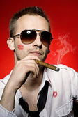 Man smoking cigar — Foto de Stock
