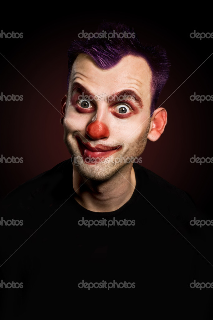 Smiling funny male clown over gradient background  Stock Photo #6867235