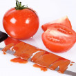 Bloody ketchup knife — Stock Photo
