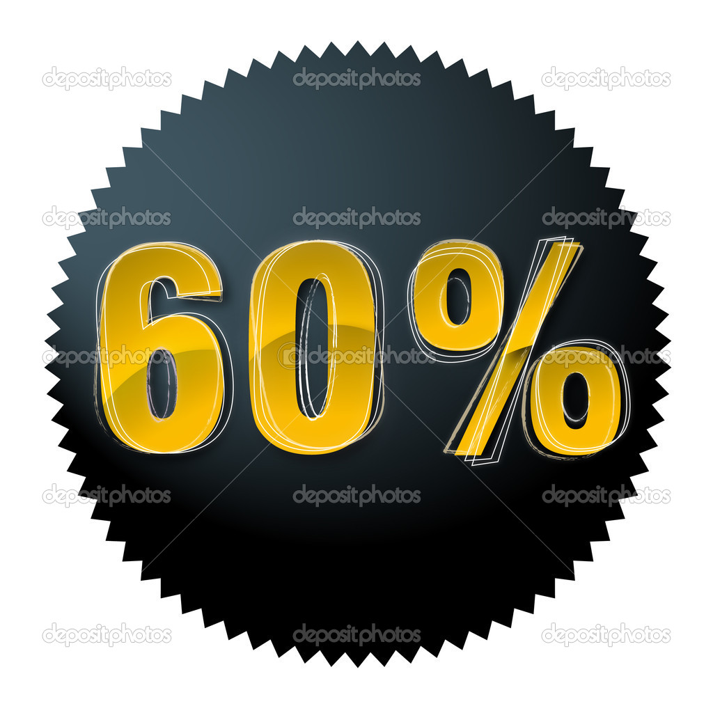 Gold sixty percent in the dark circle — Image vectorielle #6898601