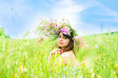 The girl on a meadow — Stock Photo