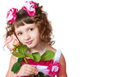 The girl in a beautiful dress with rose — Stock Photo