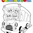 Coloring book with bus and children - Stock Vector