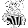 Coloring book with happy clown 1 - Stock Vector