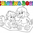 Coloring book with kids and bricks — 图库矢量图片