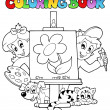 Coloring book with kids and canvas — Stock Vector #6775414