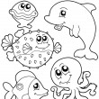 Coloring book with sea animals 1 — Stock Vector