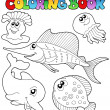 Coloring book with sea animals 2 - Stock Vector