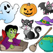 Stock Vector: Halloween cute cartoons set 1