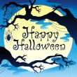 moon 2 ile Happy halloween Tema — Vector de stock