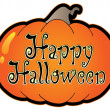 Pumpkin with Happy Halloween sign — Imagen vectorial