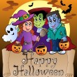 tema med happy halloween banner 3 — Stockvektor  #6775566