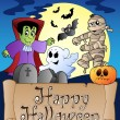 thema met happy halloween banner 4 — Vector de stock  #6775574