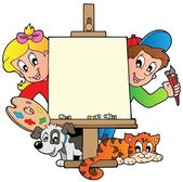 Cartoon kids with painting canvas — Stock Vector