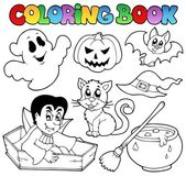 Coloring book Halloween cartoons 1 — Stock Vector