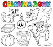 Coloring book Halloween collection — Stock Vector