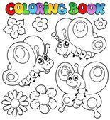 Coloring book three butterflies — Stock Vector
