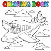 Libro de colorear con aviador de dibujos animados — Vector de stock