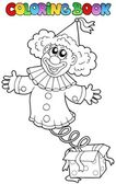 Coloring book with clown in box — Stock Vector