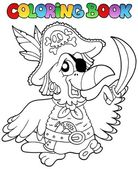 Coloring book with pirate parrot — Stock Vector