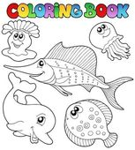 Coloring book with sea animals 2 — Stock Vector