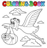 Coloring book with stork and baby — Stock Vector