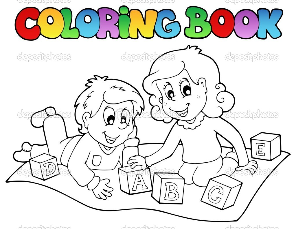 Coloring Book With Kids And Bricks Stock Vector Children S Colouring Books