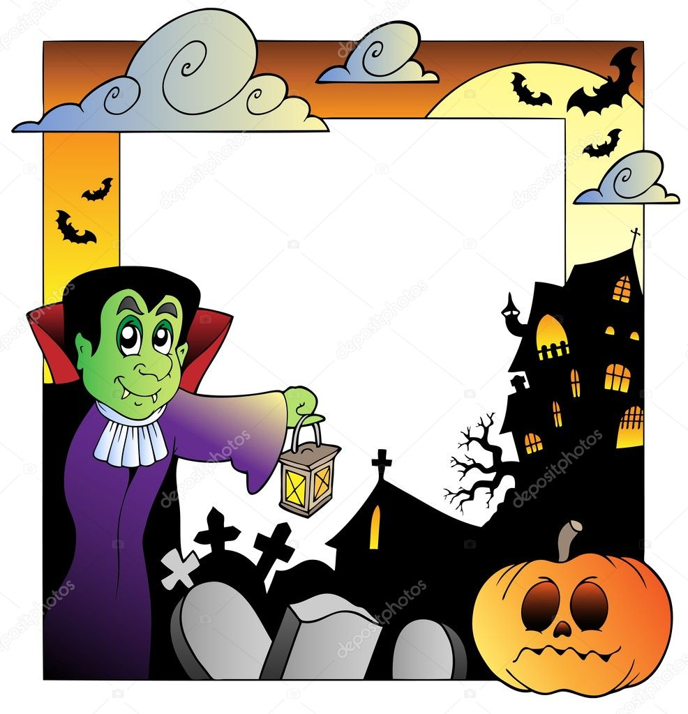Frame with Halloween topic 2 - vector illustration. — Stock Vector #6775474