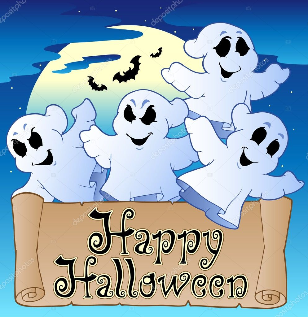 Theme with Happy Halloween banner 2 - vector illustration. — Stock Vector #6775561