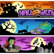 Vector de stock : Halloween banners set 3