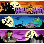 banderas de Halloween set 3 — Stockvector