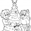 Coloring book Christmas topic 3 - Stock Vector