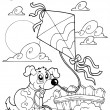 Coloring book with dog and kite — Stock Vector