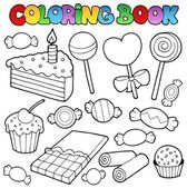Coloring book candy and cakes — Stock Vector