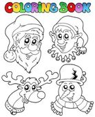 Coloring book Christmas topic 1 — Stock Vector