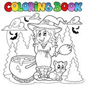Coloring book Halloween character 1 — Stock Vector