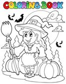 Coloring book Halloween character 4 — Stock Vector