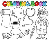 Coloring book medical collection — Stock Vector