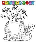 Coloring book three headed dragon — Stock Vector