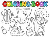 Coloring book winter topic 3 — Stock Vector